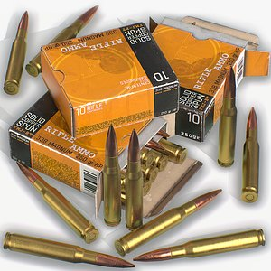 Realistic Sniper Ammo Pack - PBR Game Ready 3D