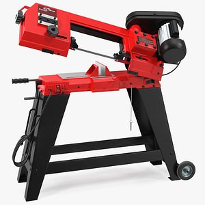 Metal Cutting Band Saw with Stand Rigged 3D model