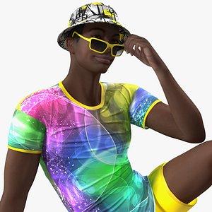 3D Dark Skin Teenager Beach Style Rigged