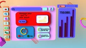 Cartoon elements Cartoon scenes Two-dimensional office UI interface Statistics Stocks stocks icons A 3D model