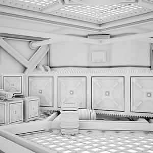 3D Sci-fi Corridor 04 Clay model