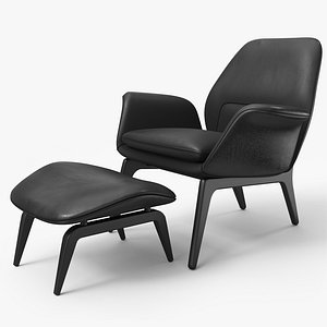 Lounge Chair Black Leather A - PBR model
