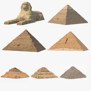3D Great Sphinx and Giza Pyramids