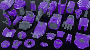 3D robot kitbash model