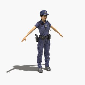 3D taiwan female police officer