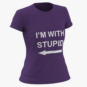 3D Female Crew Neck Worn Purple Im With Stupid 01