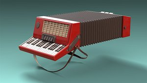 3D low-poly accordion model