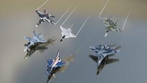 3D Modern fighters lowpoly set B 3x2