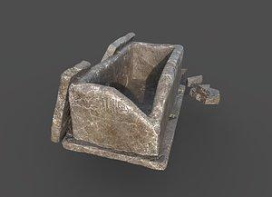 3D broken sarcophagus model