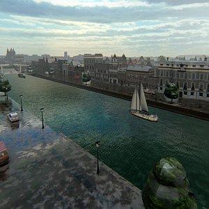 3D Haarlem Netherlands model low poly model