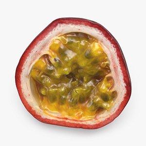 3D Half Cut Passionfruit model