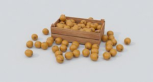 Wooden crate and oranges 3D model