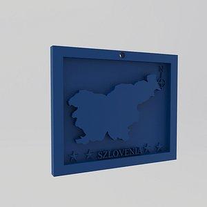 3D Slovenia-Szlovenia Map Print