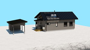 Small Gray Wooden House or Cottage 3D