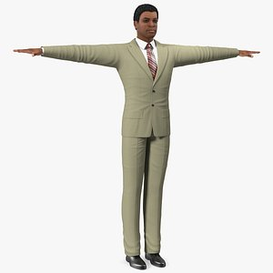 Light Skin Afro American Businessman T Pose 3D model