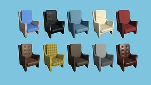3D 10 Armchair Collection - Furniture Interior Design model