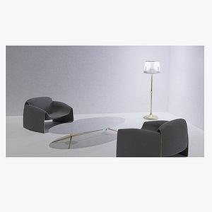3D armchair coffetable and floor lamp