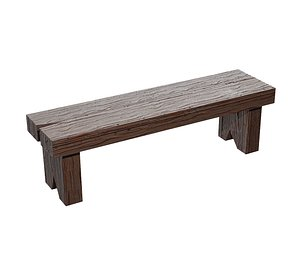 3D bench wood old