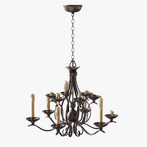 3D model low-poly medieval chandelier