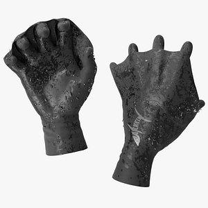 Darkfin Webbed Power Swimming Gloves Wet Rigged 3D model