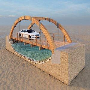 Arched Wooden Bridge 3D