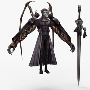 3D God of death with the sword model