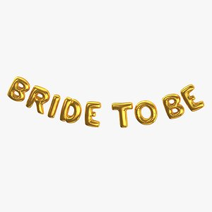 3D Foil Baloon Words Bride to be Gold