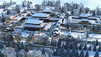 Palace, snow scenery, palace, courtyard, mansion, ancient Chinese architecture