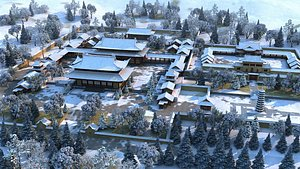 Palace, snow scenery, palace, courtyard, mansion, ancient Chinese architecture 3D