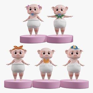 Cartoon Pig Baby 3D Rigging Pack 3D model