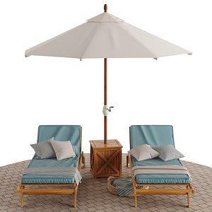beach lounge outdoor set 3D