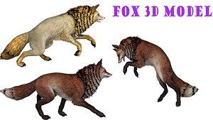 3D fox modeled fur animation model
