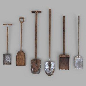 3D model Pack of 6 Medieval Shovels