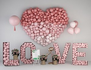 3D wedding balloon lobby model