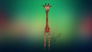 cartoon animal giraffe 3D model
