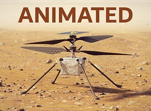 Ingenuity Helicopter takeoff animation 3D