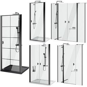 3D Shower doors Radaway Nes 8 Black set 141