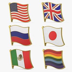 3D model flag lapel pins 2