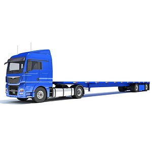 3D Freightliner Truck with Flatbed Trailer