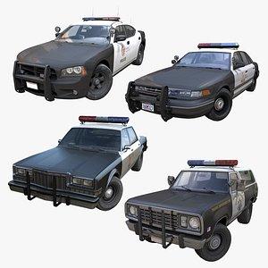 3D model American police cars PBR