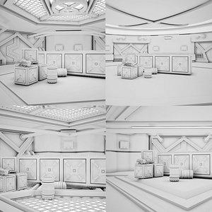 3D Sci-fi Corridor Set 04 CLAY