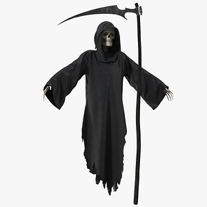 Grim Reaper with Scythe Set Rigged 3D model