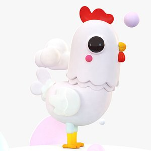 cute cartoon chicken 3D model