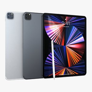3D Apple iPad Pro 129 2021 All Color with pencil