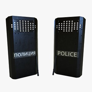 Police Shield With Baton 3D