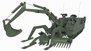 3D 3 battle tank vehicle