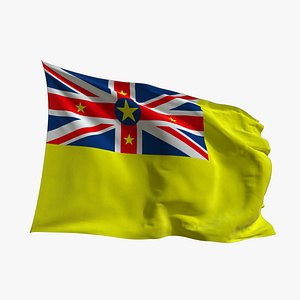 3D Realistic Animated Flag - Microtexture Rigged - Put your own texture - Def Niue