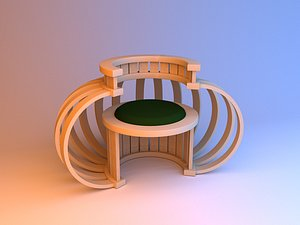 3D Unusual wood chair 3D model