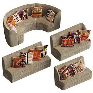 Modular sofas for cafe, restaurant and 24 pillow textures 3D model