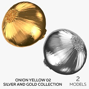 3D Onion Yellow 02 Silver and Gold Collection - 2 models